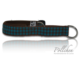 Pöllchen Komfort-Zugstopphalsband Vichy Braun Petrol