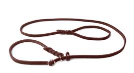 Fettleder Moxonleine braun mit Zugstop 150cm x 10mm, Chrom