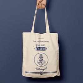 TBAGMB02 - Le tote bag Ancre - Pour tout mon bonheur, j'ai jeté l'ancre en Bretagne !