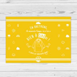 """Commencez la journée en couleur avec le set """"Ciré(r)"""" : En Bretagne, le mauvais temps, on n'en a rien à ciré(r) !"""