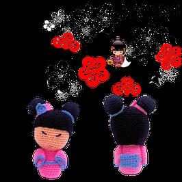 Kokeshi Creativa Tejida a mano - Japonesita Rosada