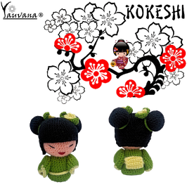 Kokeshi Creativa Tejida a mano - Japonesita Verde