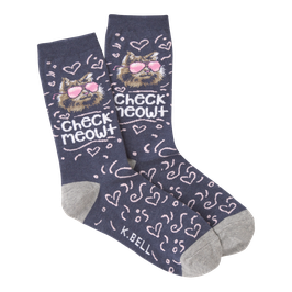 Women's Check Meowt Crew Socks