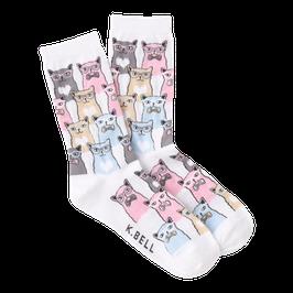 Women's Smarty Cats Crew Socks (weiss)