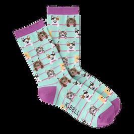 Women's Cat Stripes Crew Socks