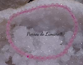 Bracelet en quartz rose perles facettées
