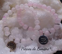 Bracelet perles 8 mm  quartz rose