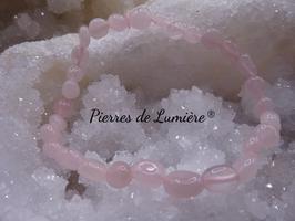 Bracelet nuggets en quartz rose
