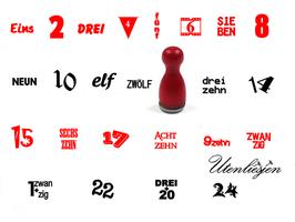 24 Adventszahlen - mini Stempel