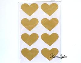 Grundpreis pro Stück = 0,12 € - 32 Herzen Aufkleber in gold, rot, silber