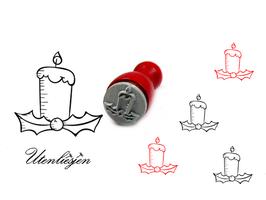 Kerze mit Ilex - mini Stempel