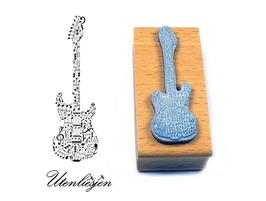 Gitarre mit Noten - Motivstempel