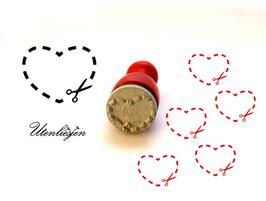 Stempel Herz mit Schere - mini Stempel