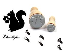 Eichhörnchen + Eichhörnchenspuren - Stempelset