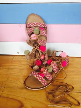 """Sandalen Leder """"Pom Pom Pink"""""""