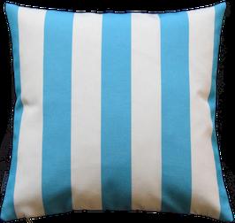 Kissenhülle Outdoor Weiß Blautürkis vertikale Streifen Nr.2