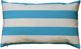 Kissenhülle Outdoor Weiß Blautürkis horinzontale Streifen Nr.4