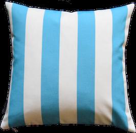 Kissenhülle Outdoor Weiß Blautürkis vertikale Streifen Nr.1