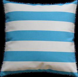 Kissenhülle Outdoor Weiß Blautürkis horinzontale Streifen Nr.3