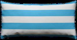 Kissenhülle Outdoor Weiß Blautürkis horinzontale Streifen Nr.5