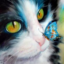 Kat met vlinder - D18150