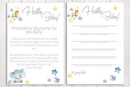 """Baby-Party Spiel """"Hallo Baby"""" """"kleiner Elefant"""" in blau"""