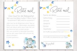 "Baby-Party Spiel ""Rate mal..."" ""kleiner Elefant"" in blau"
