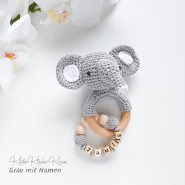 Elefanten-Rassel in Grau