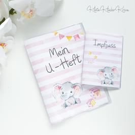 """U-Heft und Impfpass Hülle """"Elefanten-Mädchen"""""""