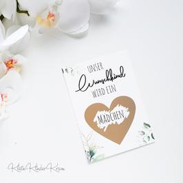 """Rubbellos-Karte """"Unser Wunschkind wird ein... Mädchen"""""""