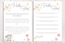 """Baby-Party Spiel """"Hallo Baby"""" """"kleiner Elefant"""" in rosa"""