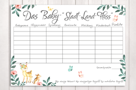 """Baby-Party Spiel """"Stadt-Land-Baby"""" """"Waldtiere"""""""