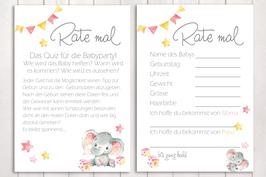 "Baby-Party Spiel ""Rate mal..."" ""kleiner Elefant"" in rosa"