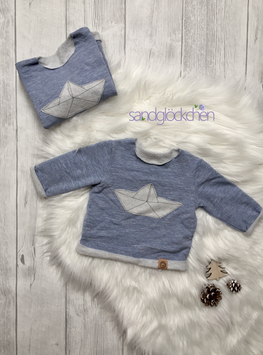 """Pullover """"Papierboot"""" blau"""