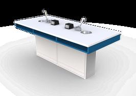 ME LP 100 Mesas para laboratorio cubierta laminado plástico  con escudilla, llave combinada y contactos