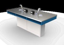 ME INOX  100 Mesas para laboratorio cubierta Inoxidable,  escudilla, llave combinada y contactos