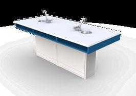 ME LP 200  Mesas para laboratorio cubierta laminado plástico con escudilla y llave combinada