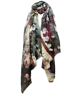 Exotisch bedruckter Schal aus Wolle- und Seide HUMMING BIRD