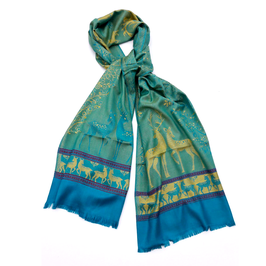 """Silk Scarf """"DEER"""" - Turquoise/Gold"""