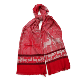 "Silk Scarf ""DEER"" - RED/silver"