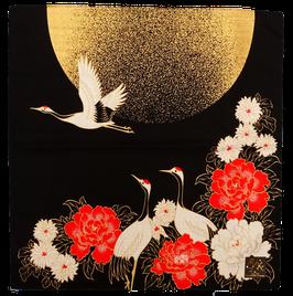 Furoshiki Pivoines et Grues sous la Lune