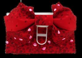 Obi rouge, Nœud déjà fait, motif fleurs de sakura roses