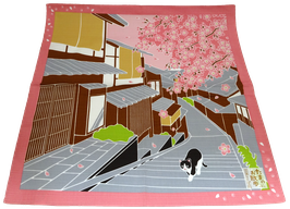 "Furoshiki ""Petite promenade sous les cerisiers en fleurs"""