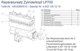 A0021301215 Reparatursatz Zylinderkopf LP700 für Kompressor mit herausnehmbaren Laufbuchsen