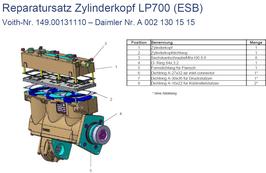 A0021301515 Reparatursatz Zylinderkopf LP700 (ESB) ohne herausnehmbare Laufbuchsen