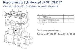 A0011308815 Reparatursatz Zylinderkopf LP491 OM457