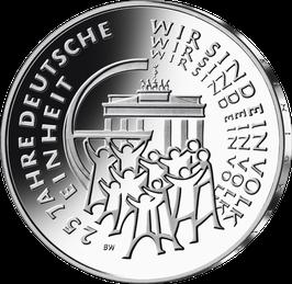 """25-Euro-Silbermünze """"25 Jahre Deutsche Einheit"""" Spiegelglanz"""