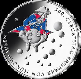 """20-Euro-Silbermünze """" 300. Geburtstag Freiherr von Münchhausen"""" Spiegelglanz"""