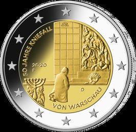 """2-Euro-Münze 2020 """"50 Jahre Kniefall von Warschau"""" Satz ADFGJ Spiegelglanz"""