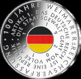 """20-Euro-Silbermünze 2019 """"100 Jahre Weimarer Reichsverfassung"""" Spiegelglanz"""